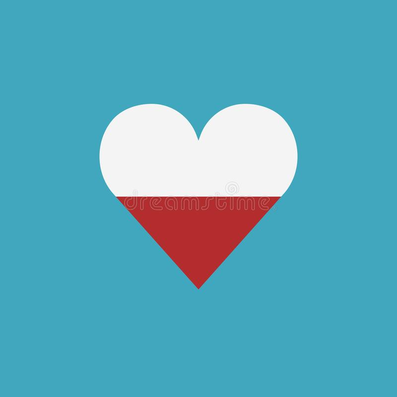 Poland flag icon in a heart shape in flat design vector illustration