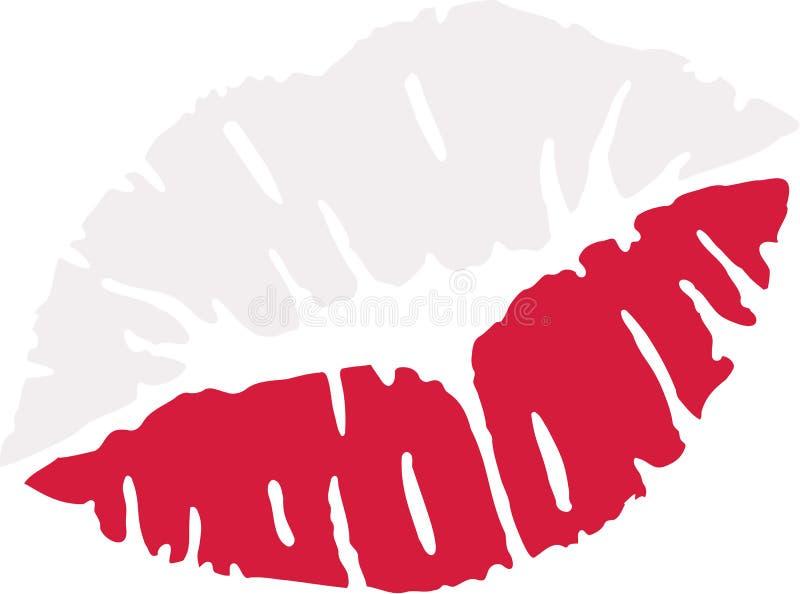 Poland flag kiss stock illustration