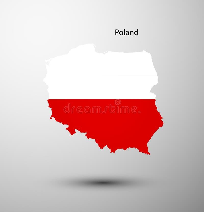 Poland flag on map royalty free illustration