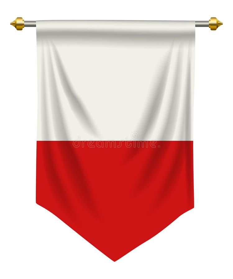 Poland Pennant. Poland flag or pennant isolated on white royalty free illustration