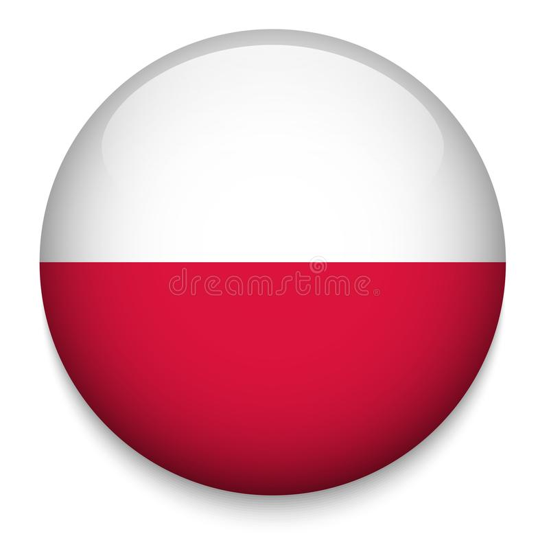 POLAND flag button vector illustration