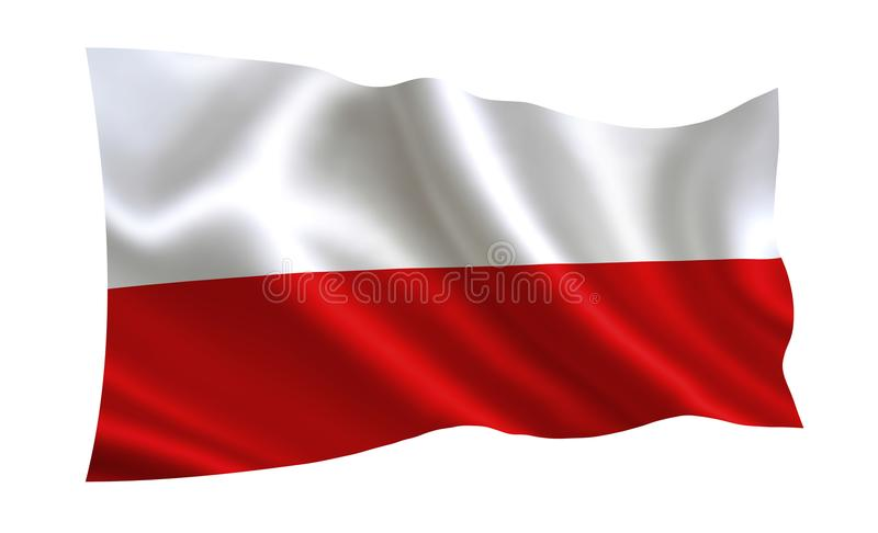 Poland flag . A series of `Flags of the world.` The country - Poland flag royalty free illustration