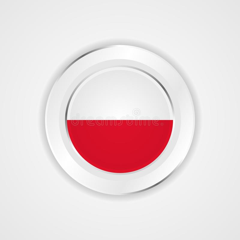 Poland flag in glossy  icon. vector illustration