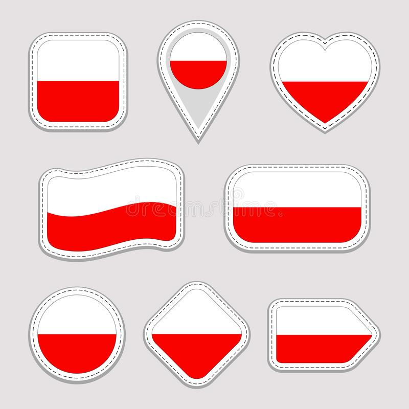 Poland flag stickers set. Polish national symbols badges. Isolated geometric icons. Vector official flags collection royalty free illustration