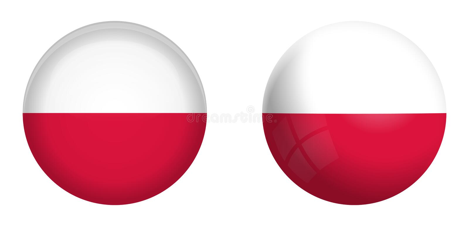 Poland flag under 3d dome button and on glossy sphere / ball vector illustration