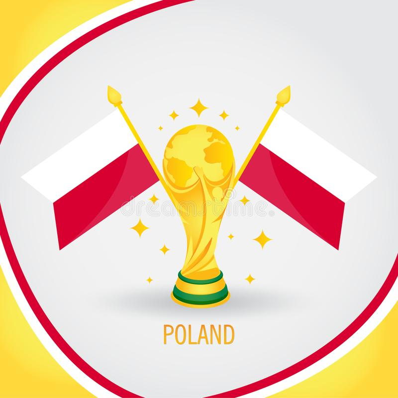 Poland Football Champion World Cup 2018 - Flag and Golden Trophy stock illustration