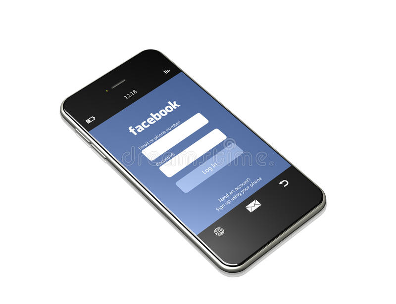 Poland, Gdańsk - 8th of August 2015. Mobile phone with facebook. Login page isolated over white background stock photo