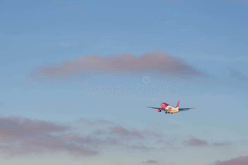 Aircraft line Wizzair taking off at airport, Gdansk, Poland. stock images