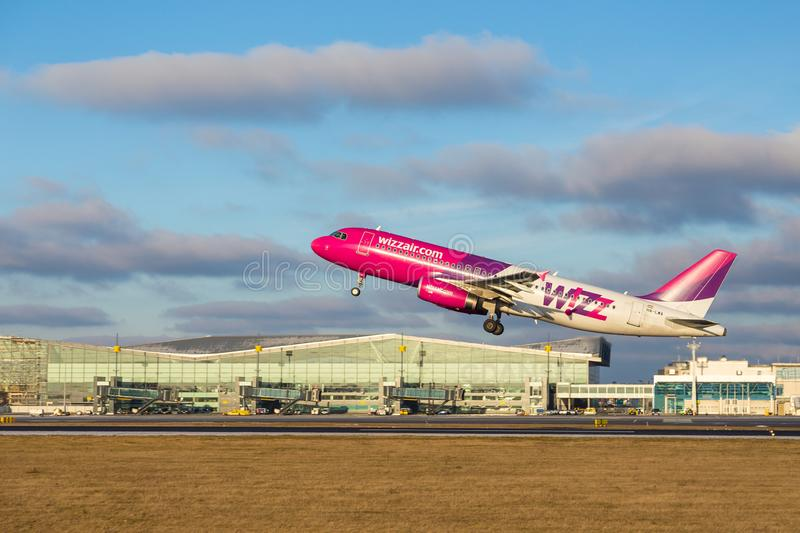 Aircraft line Wizzair taking off at airport, Gdansk, Poland. royalty free stock photos