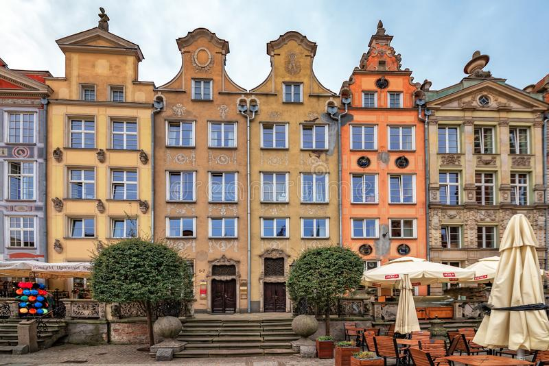 Poland Gdansk 13 September 2018 View of the front of a number of uniquely colored and restored buildings from the 1920s, standing stock images