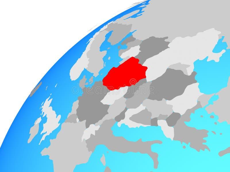 Poland on globe stock illustration