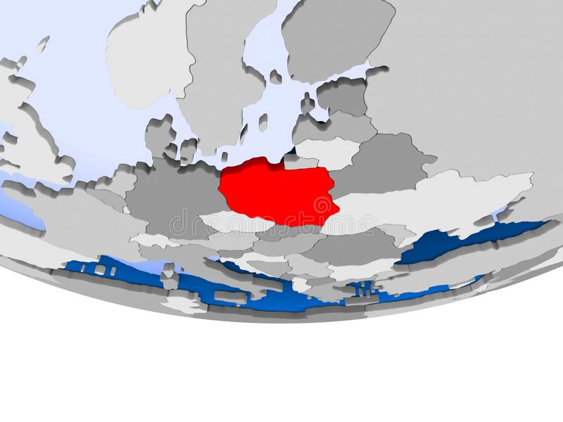 Poland on globe. Poland on 3D model of political globe with transparent oceans. 3D illustration royalty free illustration