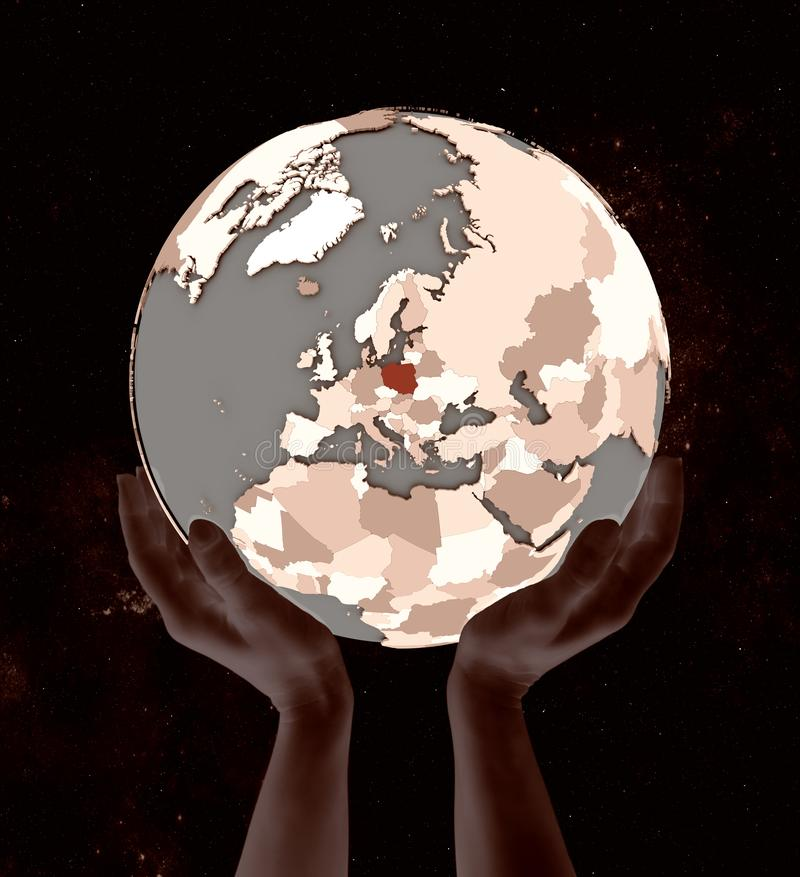 Poland on globe in hands. In space. 3D illustration stock illustration