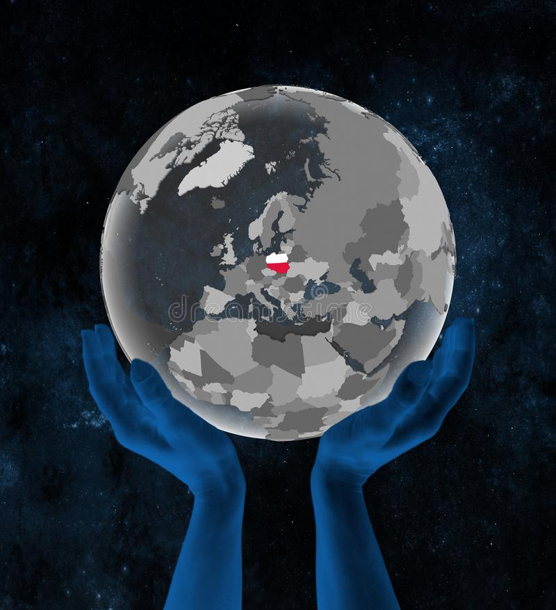 Poland on globe in hands in space stock illustration