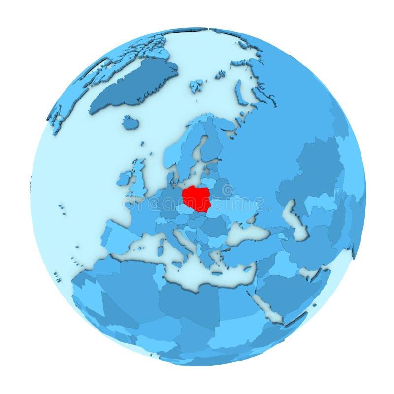Poland on globe isolated royalty free illustration