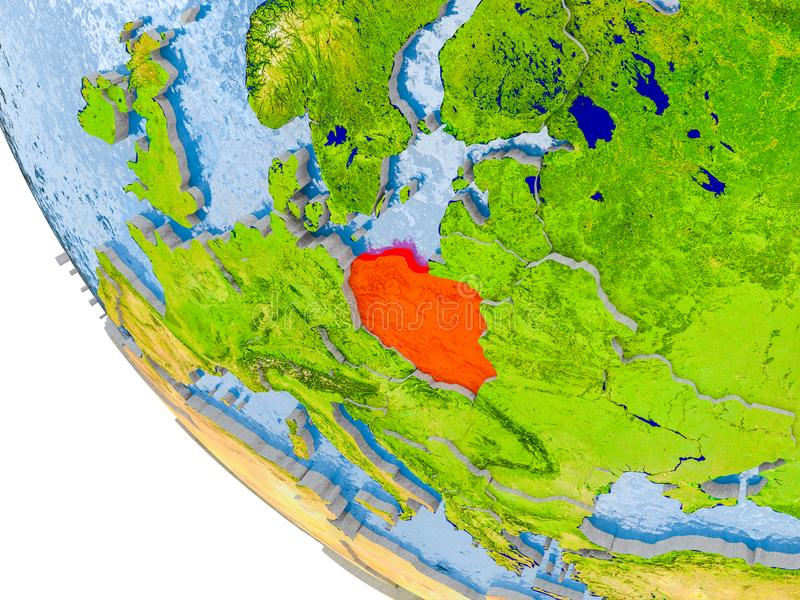 Poland on globe. Map of Poland in red on globe with real planet surface, embossed countries with visible country borders and water in the oceans. 3D illustration vector illustration