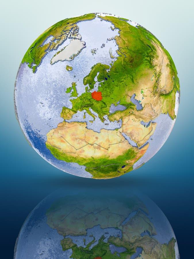Poland on globe royalty free illustration