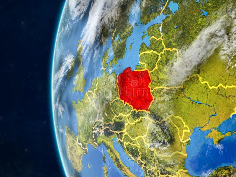 Poland on globe from space royalty free illustration