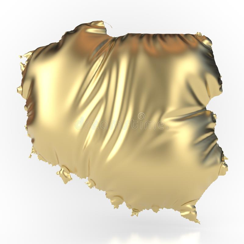 Poland gold-colored and inflated. Like a pillow royalty free illustration