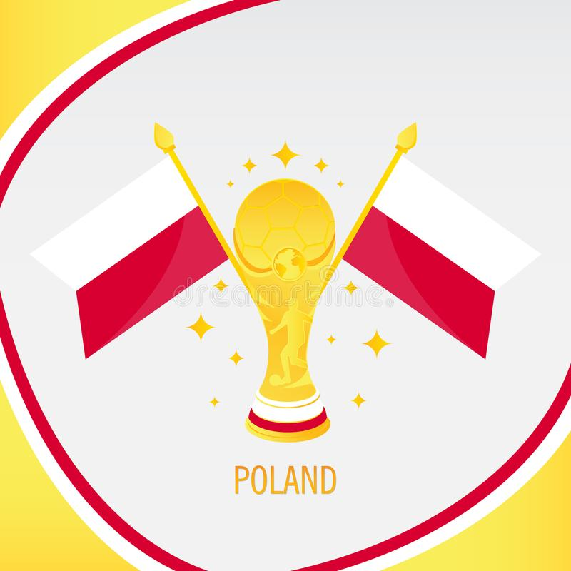 Poland Gold Football Trophy / Cup and Flag royalty free illustration