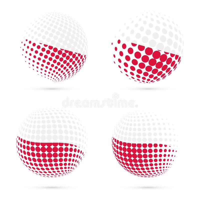 Poland halftone flag set patriotic vector design. vector illustration