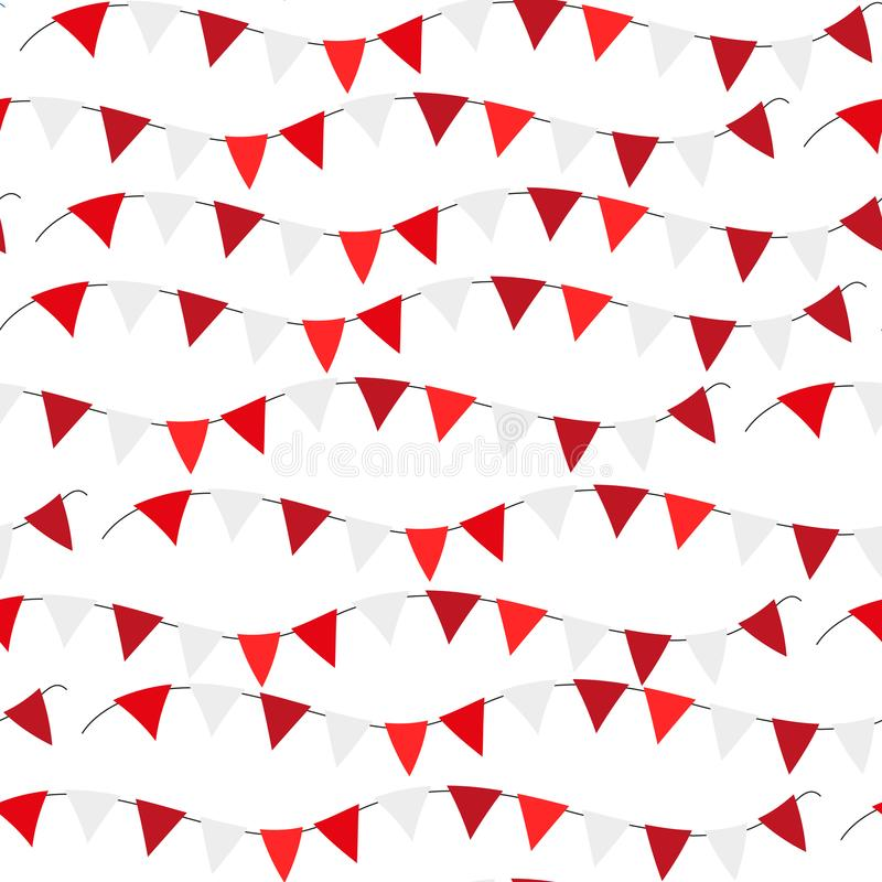 Poland Independence day seamless pattern. Red, white flags, bunting repeating texture, endless background. Isolated on vector illustration