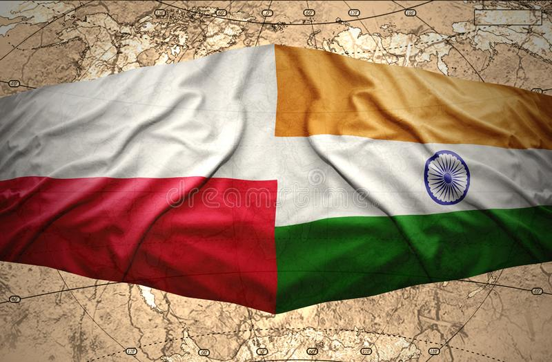 Poland and India. Waving Polish and Indian flags of the political map of the world vector illustration