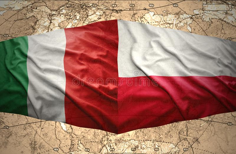 Poland and Italy. Waving Polish and Italian flags of the political map vector illustration