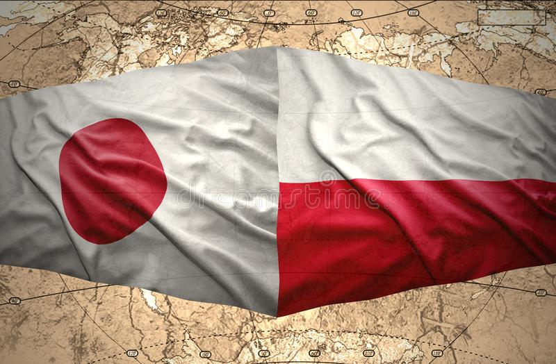 Poland and Japan. Waving Polish and Japanese flags of the political map of the world stock illustration