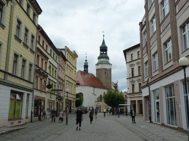 Poland, Jelenia Góra - the Wojanowska Tower visible from 1 Maja Sreet in Jelenia Góra Town. royalty free stock photos