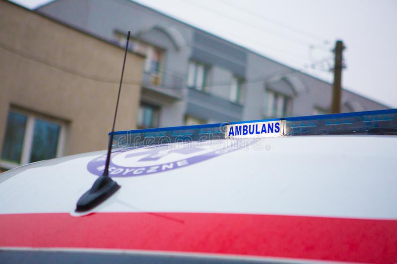14.11.2019 - Poland/ Kielce Ambulance in Poland. 14.11.2019 - Poland/ Kielce - Ambulance in Poland. Polish Ambulance car. Medical polish car stock photo