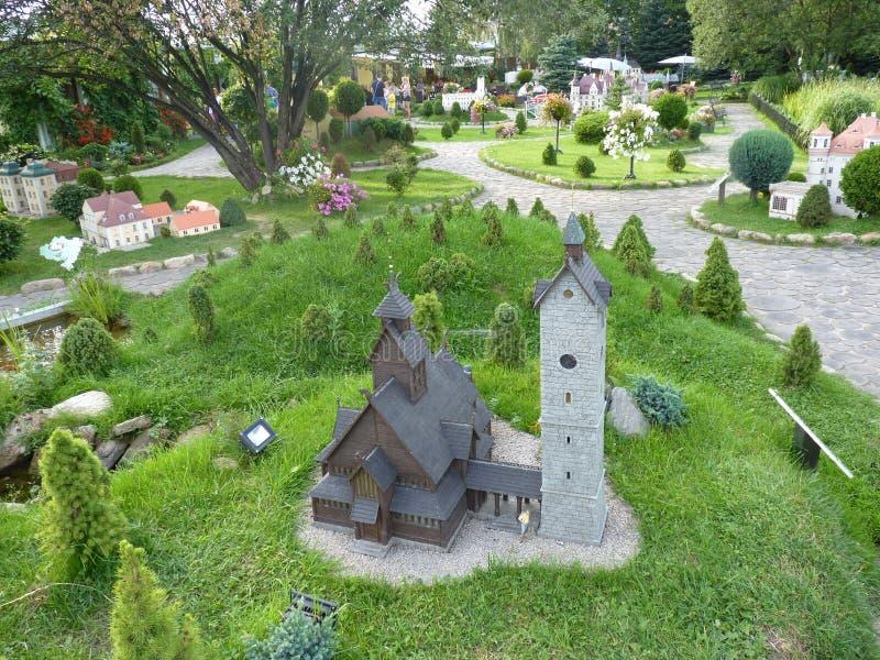 Poland, Kowary - the miniature of the Wang church in the miniature park in Kowary town. Poland, Kowary - the view of the miniature of the Wang church in the stock photography