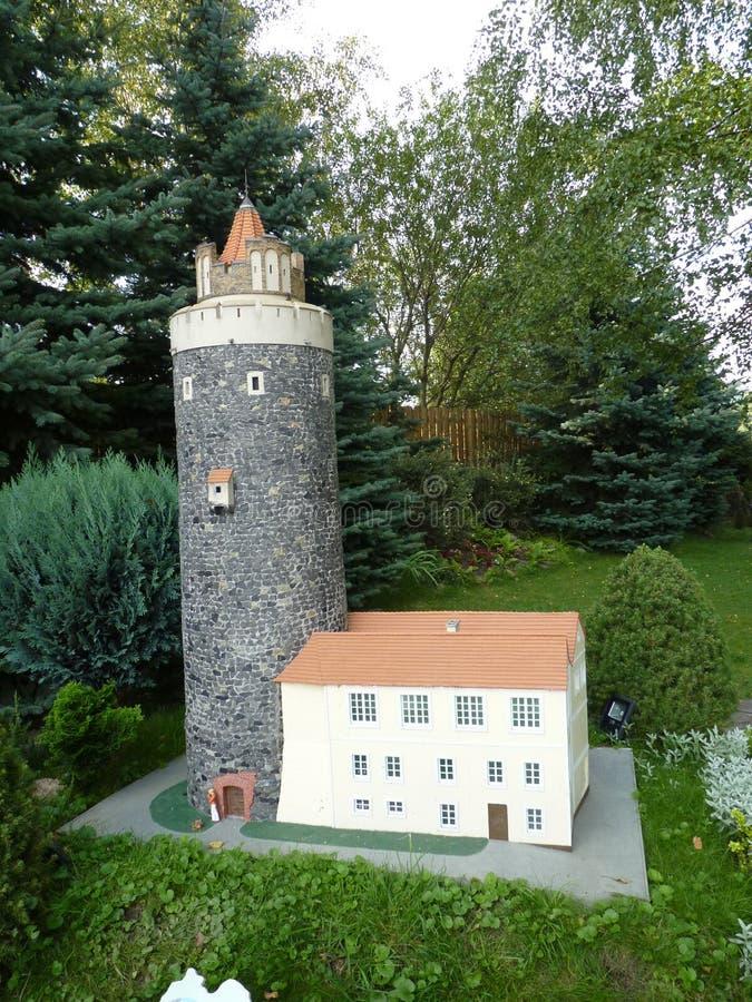 Poland, Kowary - the miniature park in Kowary town. Poland, Kowary - the view of the miniature park in Kowary town stock images
