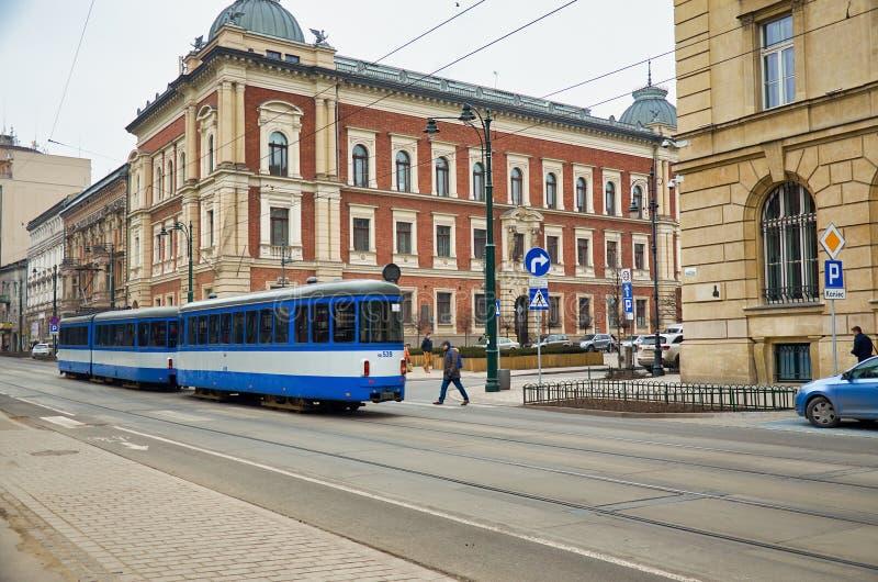 Poland. Krakow. Blue tram in Krakow. February 21, 2018 royalty free stock photos