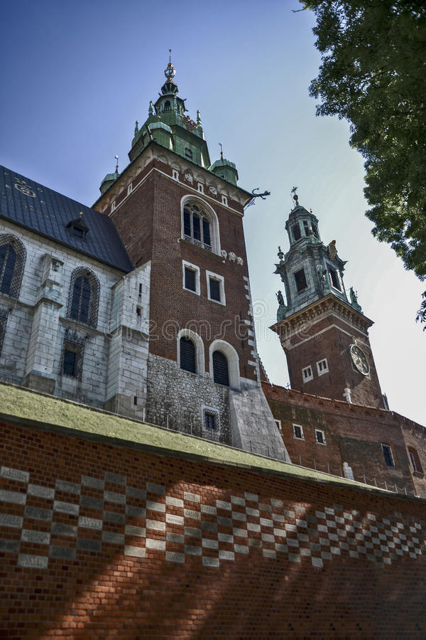 Poland, Krakow. June 07-2016. Wawel. Towers of the Cathedral of Saints Stanislaus and Wenceslas royalty free stock photos