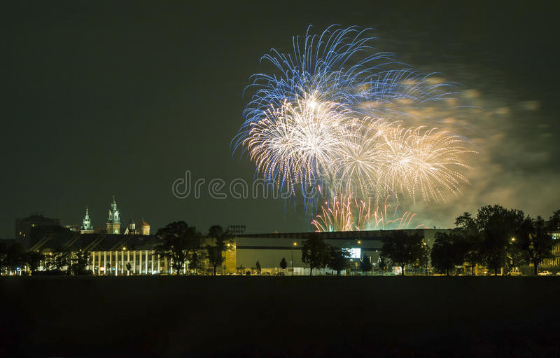 Poland, Krakow Skyline, Wawel Castle, Fireworks royalty free stock photography