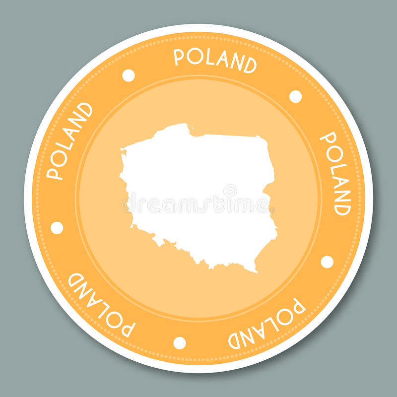 Poland label flat sticker design. stock illustration