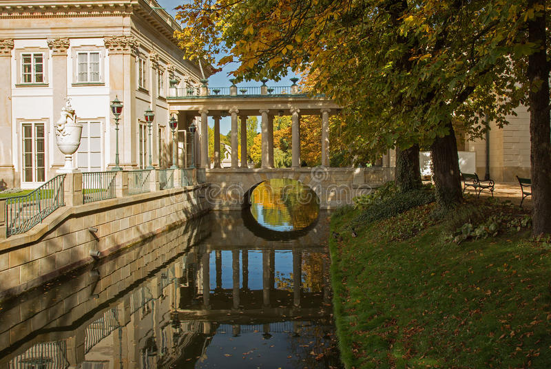 Poland.Lazienki Royal park in autumn.Palace on the water. Poland.Warsaw.Poland.Lazienki Royal park in autumn.Palace on the water.View on the palace, canal and stock image