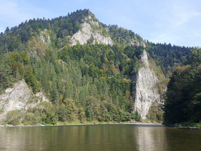 Poland, Malopolska, Pieniny mountains . Poland, Malopolska, Pieniny mountains - the view of the Pieniny mountains from Dunajec river rafting royalty free stock images