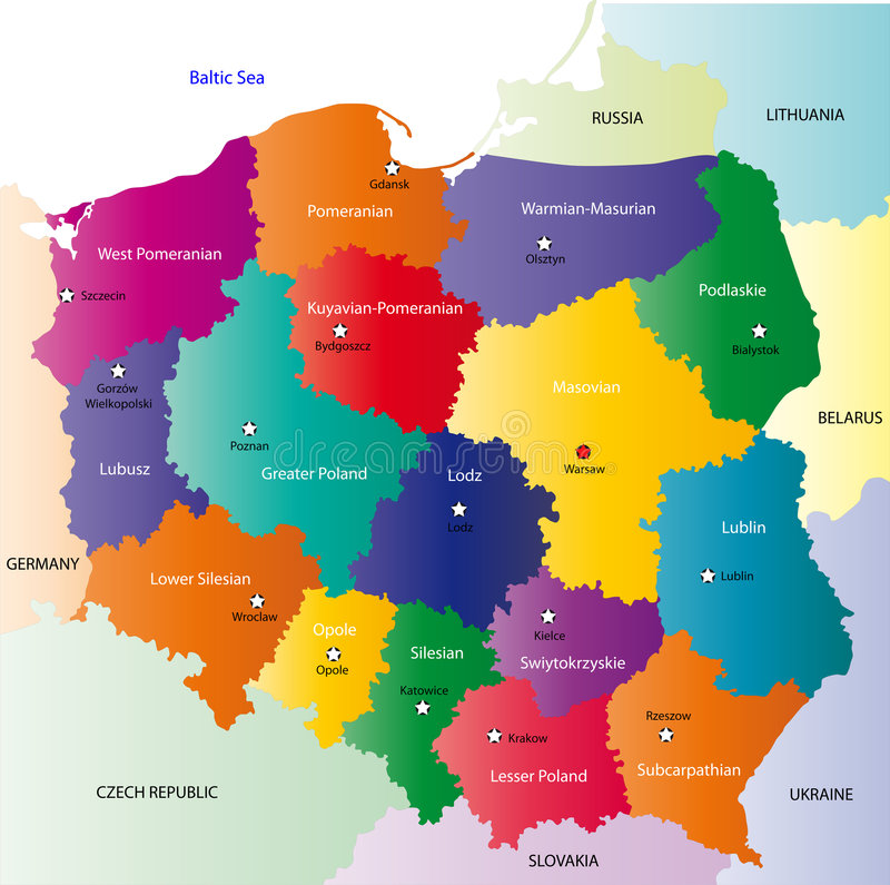 Poland map. Designed in illustration with the 16 provinces colored in bright colors and with the main cities. On an illustration neighbouring countries are