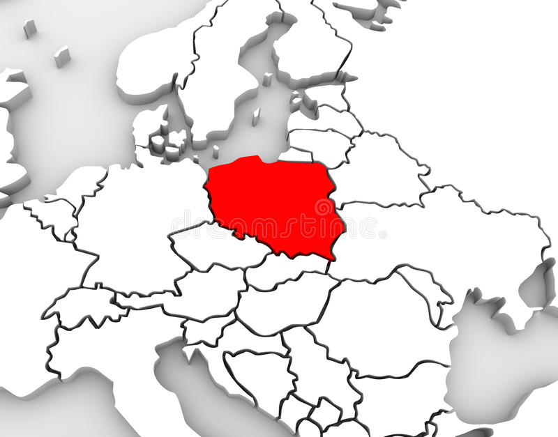 Poland Map Abstract 3D Europe Continent. An abstract 3d map of Europe and the northern and eastern region with Poland highlighted in red and surrounding stock illustration