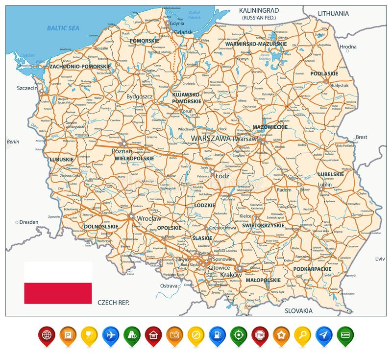 Free Poland Map And Colored Icons Stock Photography - 145156112
