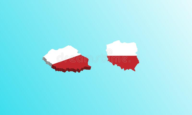 Poland map 3D icon vector illustration stock image