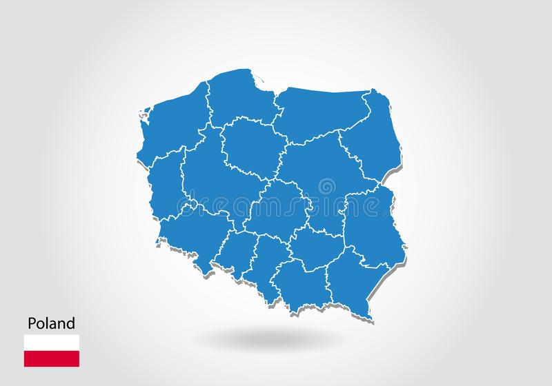 Poland map design with 3D style. Blue Poland map and National flag. Simple vector map with contour, shape, outline, on white stock illustration