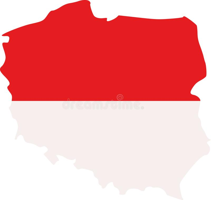 Poland map with flag. Warsaw vector royalty free illustration