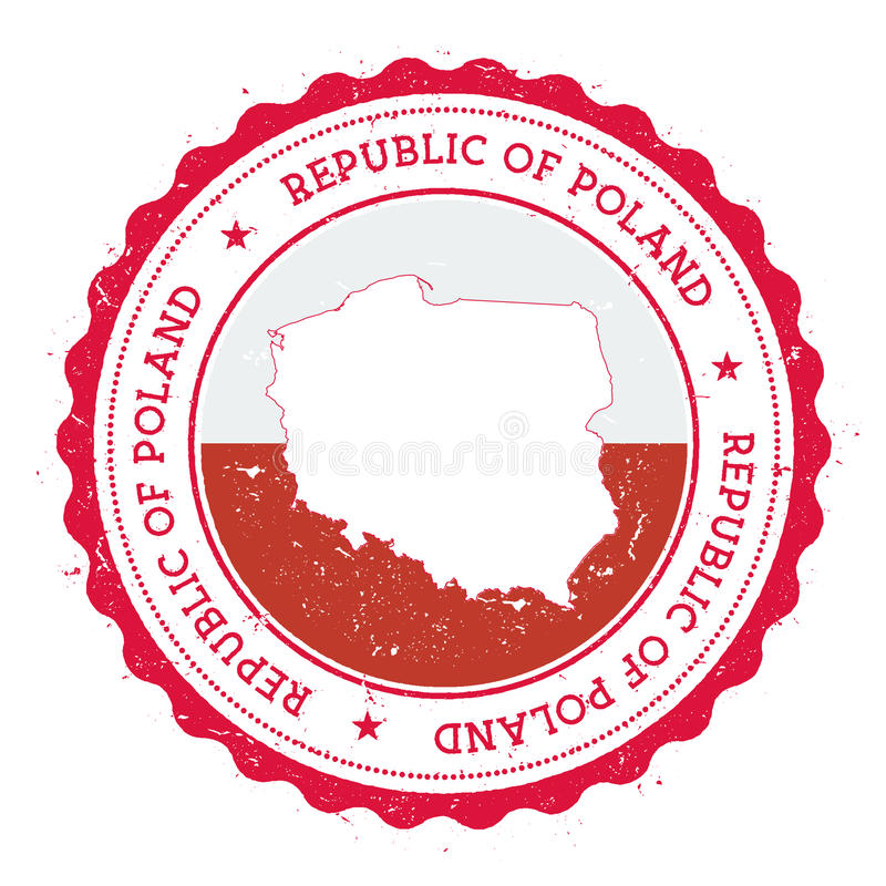 Poland map and flag in vintage rubber stamp of. stock illustration