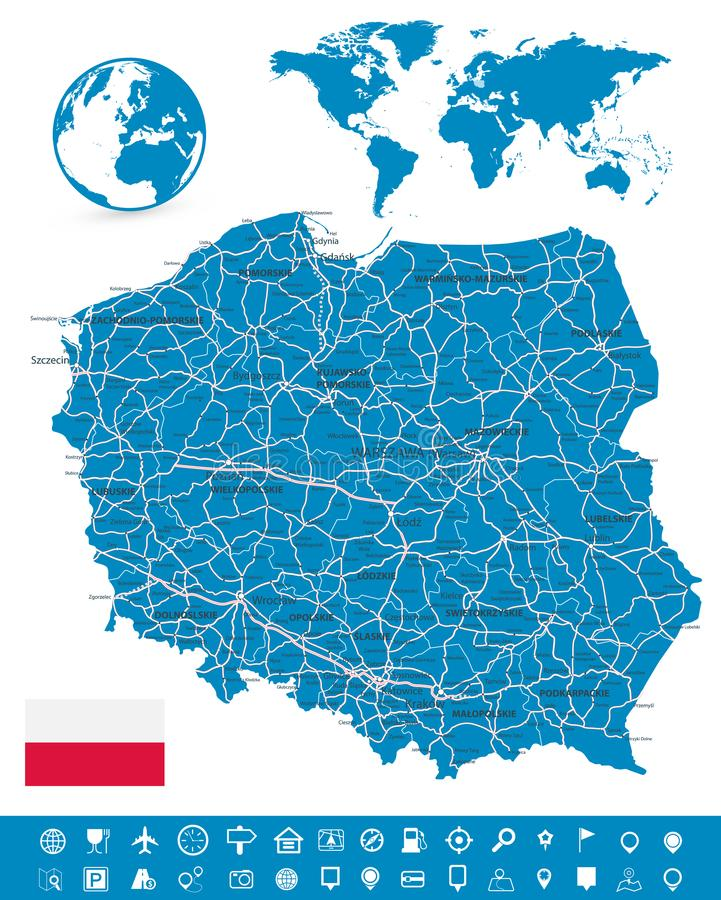 Poland Map and Map Navigation Set. Detailed map of Poland vector illustration stock illustration