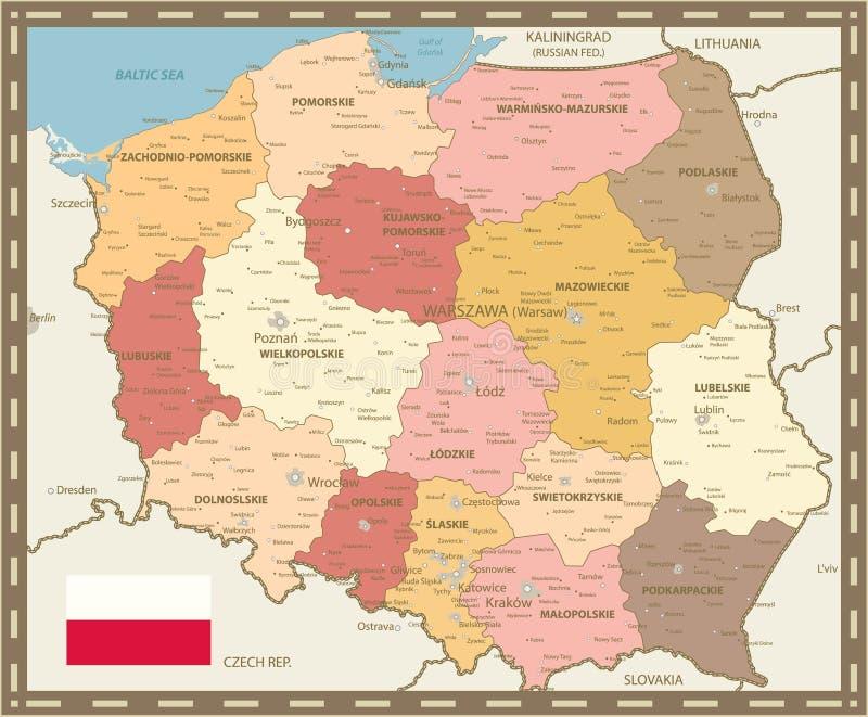 Poland Map Vintage Color. Detailed map of Poland vector illustration royalty free illustration