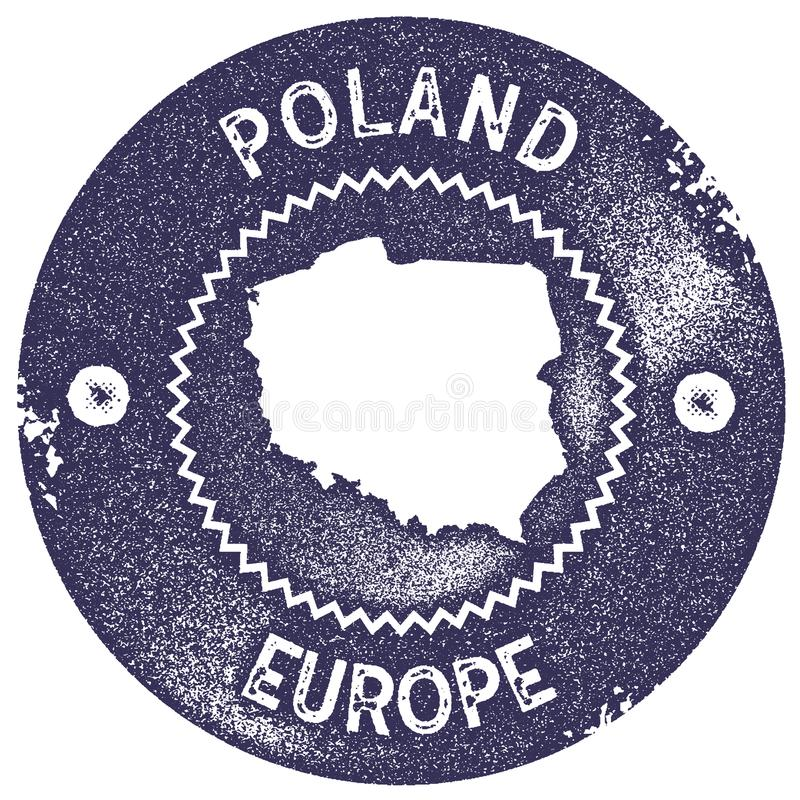 Poland map vintage stamp. stock illustration