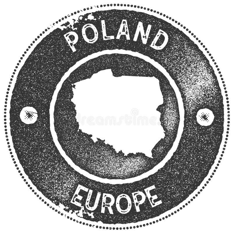 Poland map vintage stamp. royalty free illustration